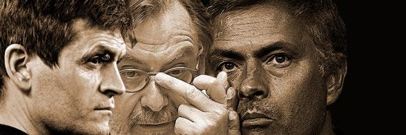 Tito Vilanova, Juan Luis Cebrián y José Mourinho.
