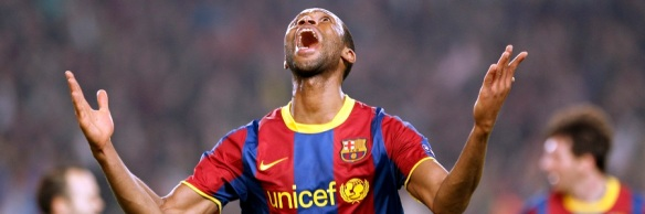 Barcelona's Keita celebrates after scoring a goal against Shakhtar Donetsk during their Champions League match in Barcelona