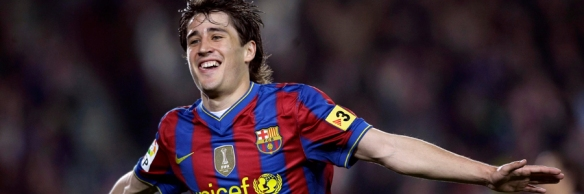 Barcelona's player Bojan Krkic celebrates a goal against Deportivo Coruna during their Spanish first division soccer league match at Camp Nou stadium in Barcelona
