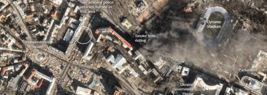 Imagen aérea del centro de Kiev y el Dynamo Stadium.