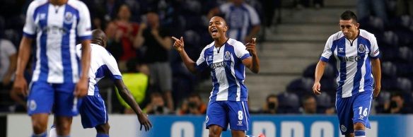 Porto's Yacine Brahimi celebrates his goal against BATE Borisov during their Champions League Group H soccer match in Porto