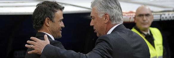 Madrid. 24.10.14. DEPORTES. FUTBOL LIGA. Real Madrid - Barcelona.  Ancelotti y Luis Enrique. FOTO: JOSE LUIS ROCA