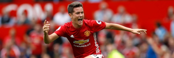 "Britain Soccer Football - Manchester United v Manchester City - Premier League - Old Trafford - 16/17 - 10/9/16 Manchester United's Ander Herrera reacts Action Images via Reuters / Carl Recine EDITORIAL USE ONLY. No use with unauthorized audio, video, data, fixture lists, club/league logos or ""live"" services. Online in-match use limited to 45 images, no video emulation. No use in betting, games or single club/league/player publications. Please contact your account representative for further details."